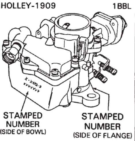 Holley 1909 1 Barrel Technical Information