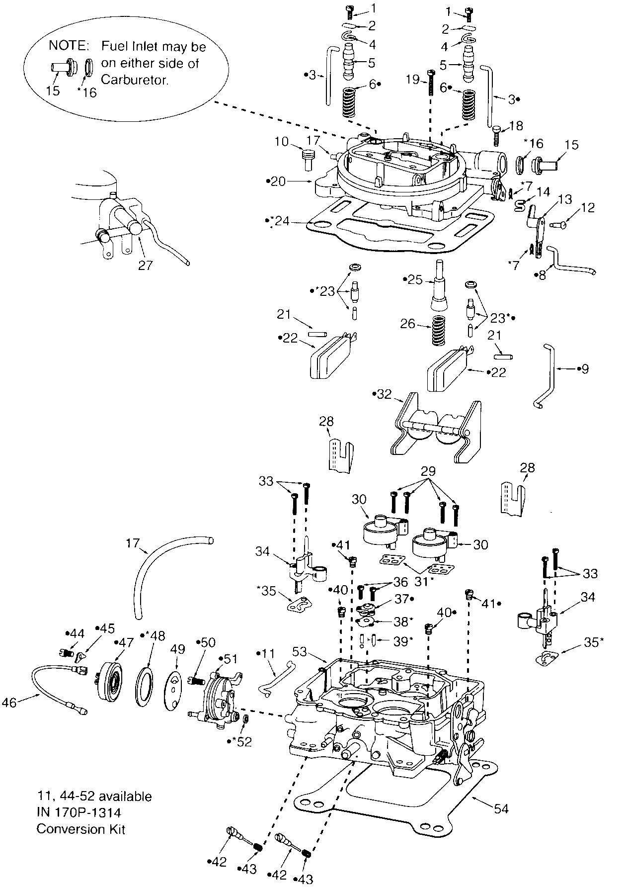 Step-up retainer spring 5. Step-up piston 6. Vacuum piston spring 7. Pin  spring 8. Pump connector rod. 9. Fast idle cam connector rod 10.  Countershaft lever